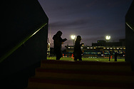 rugby fans carry their drinks to their seat. Guinness Pro14 rugby match, Cardiff Blues v Dragons at the Cardiff Arms Park in Cardiff, South Wales on Friday 6th October 2017.<br /> pic by Andrew Orchard, Andrew Orchard sports photography.
