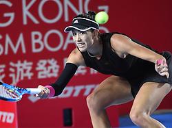 October 12, 2018 - Hong Kong, China - GARBINE MUGURUZA of Spain in action against Luksika Kumkhum of Thailand during their quarter-final match at the Hong Kong Open. Muguruza won 6:2, 7:5. (Credit Image: © Jayne Russell/ZUMA Wire)