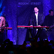 The Script performs at Regent Street Christmas Lights switch-on celebrate its 200th anniversary on 14 November 2019, London, UK.
