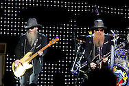Tribune Photo/SANTIAGO FLORES Dusty Hill and Billy Gibbons of ZZ Top perform at the Morris Performing Arts Center on Wednesday night.  For a review of the performance please visit us at www.SouthBendTribune.com or see Friday's Weekend Section.