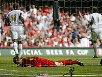 Photo: Chris Ratcliffe.<br />Liverpool v West Ham United. The FA Cup Final. 13/05/2006.<br />Jamie Carragher of Liverpool lies in the net after conceding an own goal.