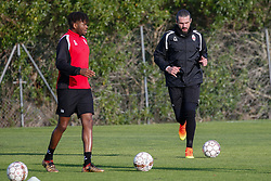 January 6, 2018 - Cadiz, SPAIN - Mouscron's Aristo Nkaka and Mouscron's goalkeeper Logan Bailly pictured in action during the first day of the winter training camp of Belgian first division soccer team Royal Excel Mouscron, in Cadiz, Spain, Saturday 06 January 2018. BELGA PHOTO BRUNO FAHY (Credit Image: © Bruno Fahy/Belga via ZUMA Press)