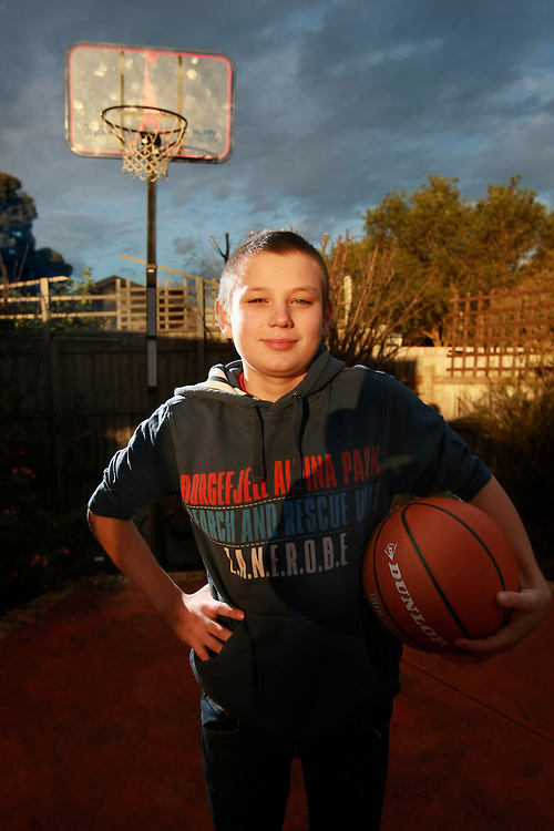 12 year old Milak Agonovic likes basketball. Pic By Craig Sillitoe CSZ / The Sunday Age.21/06/2012 melbourne photographers, commercial photographers, industrial photographers, corporate photographer, architectural photographers, This photograph can be used for non commercial uses with attribution. Credit: Craig Sillitoe Photography / http://www.csillitoe.com<br /> <br /> It is protected under the Creative Commons Attribution-NonCommercial-ShareAlike 4.0 International License. To view a copy of this license, visit http://creativecommons.org/licenses/by-nc-sa/4.0/.