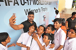 August 30, 2017 - Kolkata, West Bengal, India - India Students his mobile camera Selfie at  The FIFA U17 World Cup 2017 Winners Trophy visit in Kolkata City  on August 30,2017 in India. (Credit Image: © Debajyoti Chakraborty/NurPhoto via ZUMA Press)