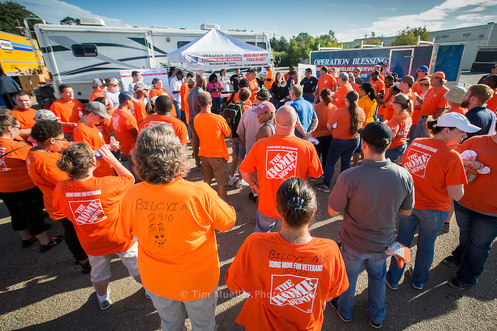 Volunteers from across the country arrived in southeast Louisiana to help in flood recovery. In Denham Springs, La. nearly 100 Home Depot associates from across the Gulf Coast gathered Friday, August 19, 2016 for home cleaning orientation at Operation Blessing's site off Florida Blvd.