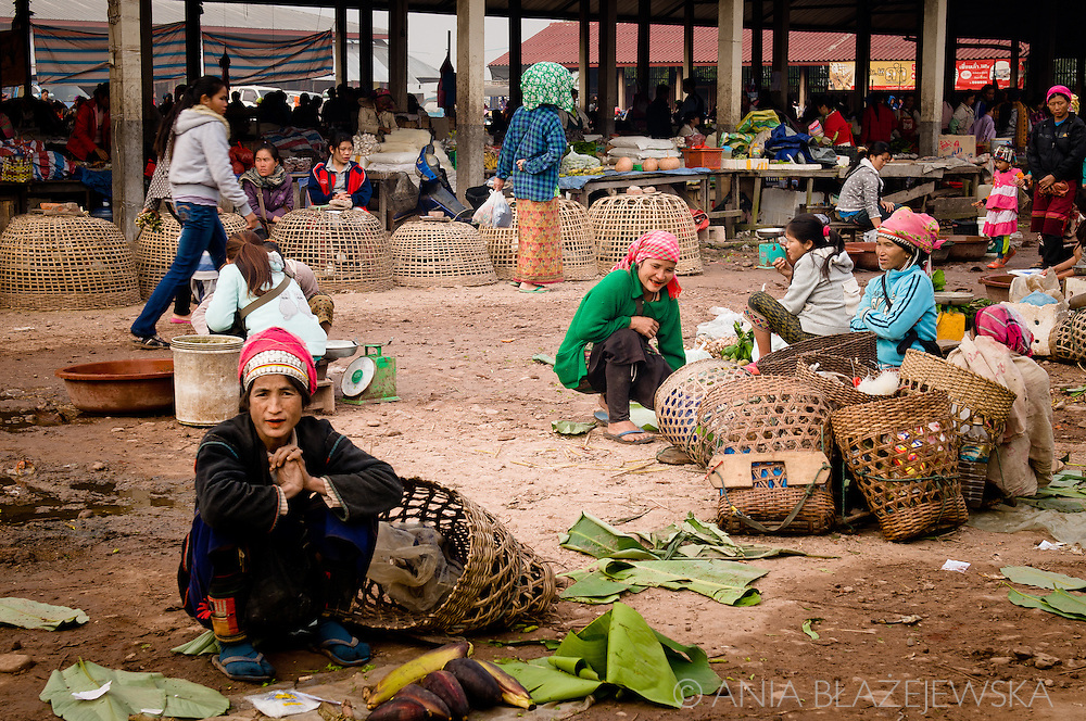 Laos, Muang Sing. The morning market in Muang Sing is a great opportunity for the people living in the villages nearby to products from their fields. <br /> Akha woman is selling banana flowers.