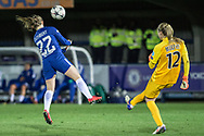 Chelsea Ladies Erin Cuthbert (22) blocks the ball during the UEFA Women's Champions League quarter final second leg match between Chelsea Ladies and Montpellier Feminines at the Kings Sports Ground, New Malden, United Kingdom on 28 March 2018. Picture by Robin Pope.