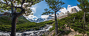 Below Los Cuernos (The Horns), the Rio del Frances (French River) drains the French Valley cirque in Torres del Paine National Park, Ultima Esperanza Province, Chile, Patagonia, South America. The Park is listed as a World Biosphere Reserve by UNESCO. This image was stitched from multiple overlapping photos.