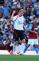 Photo: Mark Stephenson. <br /> Aston Villa v Liverpool. Barclays Premiership. 11/08/2007. <br /> Dirk Kuyt celebrates Liverpool's  goal