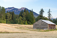 Small barn on farmland in the Ryder Lake area of Chilliwack, Briitsh Columbia, Canada. The grass in the foreground was in the process of being cut to produce bales of hay.  Mount McGuire (2,008 m / 6,588 ft) in the background is part of the Skagit Range of the North Cascades.