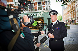 © London News Pictures. 25/06/2013. London, UK. Commissioner of the Metropolitan Police, Sir Bernard Hogan-Howe, arriving at LBC radio studios in London for a live interview. Police Chief Hogan-Howe spoke about allegations of smear campaign against Lawrence family by the Met Police . Photo credit should read: Ben Cawthra/LNP