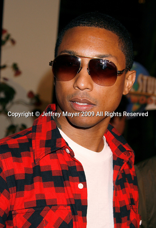 """UNIVERSAL CITY, CA. - March 12: Pharrell Williams of N.E.R.D. arrives at the Los Angeles premiere of """"Fast & Furious"""" at the Gibson Amphitheatre on March 12, 2009 in Universal City, California."""