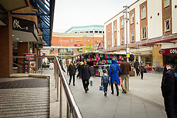 St Ann's Road with St George's shopping centre at the end, Harrow, north west London UK