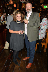 HENRIETTA GREEN and Chef HENRY HARRIS at the opening party of Mr Fogg's Tavern, 58 St.Martin's Lane, London hosted by William Sitwell on 8th October 2015.