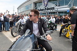 Max Ness rev's the engine on one of Arlen's bikes as everyone made some noise for Arlen at the Arlen Ness Memorial - Celebration of Life at the Arlen Ness Motorcycles store. Dublin, CA, USA. Saturday, April 27, 2019. Photography ©2019 Michael Lichter.