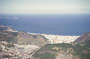 View over city of Rio de Janeiro, Brazil, South America 1962 to Copacabana