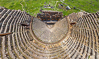 Aerial view of theatre at the ancient city of Hierapolis, Turkey