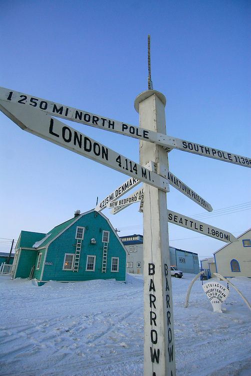 Barrow, Alaska. Pole showing distances between Barrow and other places on Earth.  April 2007.