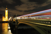 Long exposure shots taken on Westminster Bridge, with St. Stephen's Tower (which holds Big Ben) and the Houses of Parliament in the distance.