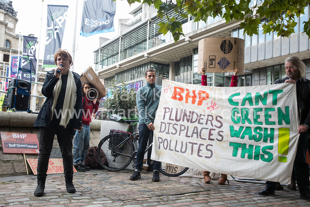 London, UK. 17 October, 2019. Frontline human rights defenders from Chile, Brazil and Colombia join climate justice activists from London Mining Network and War on Want in protesting outside the AGM of  British-Australian mining company BHP at the QEII Centre against the company's destructive mining practices, which are contributing to climate breakdown across the globe. There has been an upsurge in death threats and assassination attempts directed at human rights defenders in Latin America opposed to mega-mining in recent months.