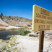 The Hot Creek Geologic Site is located only a few miles from Mammoth Lakes, CA. The hot springs, or geothermal pools, bubble and spew from the creek, reminding visitors that hot magma is located only a few miles from the surface. The meandering creek is open to fishing but the areas around the hot springs are closed due to danger.