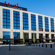 Loews Hotel at Downtown St. Louis Missouri Ballpark Village, across the street from Busch Stadium, home of the St. Louis Cardinals.