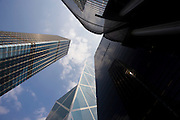 Bank of China modern architecture building near ICBC, Citibank towers and Cheung Kong Center, Hong Kong, China