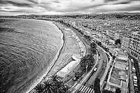 Black and white view from Bllanda Tower of the Bay of Angels, The Mediterranean Sea, and Nice, France.