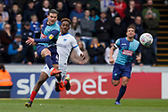 Dominic Gape of Wycombe Wanderers clears the ball during the EFL Sky Bet League 1 match between Wycombe Wanderers and Portsmouth at Adams Park, High Wycombe, England on 6 April 2019.
