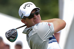 June 24, 2018 - Cromwell, Connecticut, United States - Ryan Blaum tees off the first hole during the final round of the Travelers Championship at TPC River Highlands. (Credit Image: © Debby Wong via ZUMA Wire)