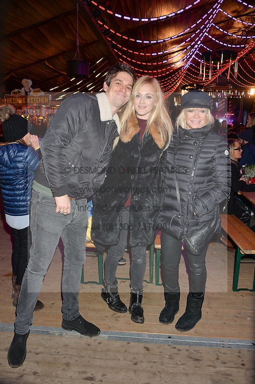 Left to right, JESSE WOOD, FEARNE COTTON and JO WOOD at the Hyde Park Winter Wonderland - VIP Preview Night, Hyde Park, London on 17th November 2016.