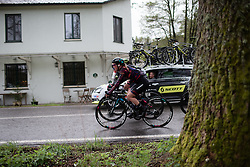Alice Barnes (GBR) of CANYON//SRAM Racing rides mid-pack during the Liege-Bastogne-Liege Femmes - a 138.5 km road race, between Bastogne and Liege on April 28, 2019, in Wallonie, Belgium. (Photo by Balint Hamvas/Velofocus.com)