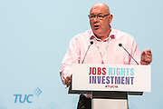 Dave Ward, General Secretary of the CWU speaking at the TUC congress 2016, Brighton. UK.