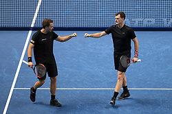 Jamie Murray (right) and Bruno Soares celebrate a point during day four of the NITTO ATP World Tour Finals at the O2 Arena, London.