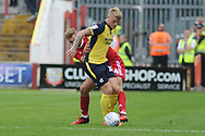 Scunthorpe United Forward, Stephen Humphrys (10) and Accrington Stanley Defender On loan from Blackpool, Nick Anderton (24) during the EFL Sky Bet League 1 match between Accrington Stanley and Scunthorpe United at the Fraser Eagle Stadium, Accrington, England on 1 September 2018.