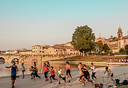 ITALY, RIMINI, gym and yoga at the Parco 25 Aprile at sundown