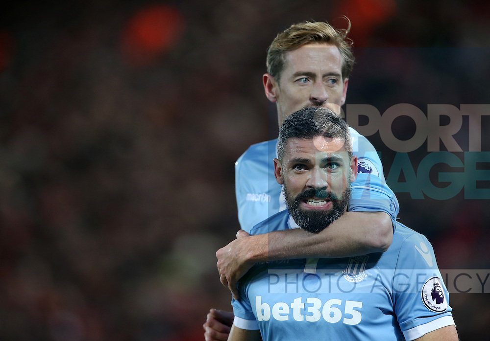 Stoke's Jonathan Walters celebrates scoring his sides opening goal during the Premier League match at Anfield Stadium, Liverpool. Picture date December 27th, 2016 Pic David Klein/Sportimage