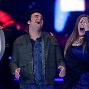 NLD/Hilversum/20120120 - Finale the Voice of Holland 2012, Iris Kroes winnares en Chris Hordijk