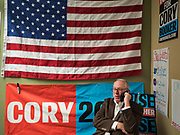 19 DECEMBER 2019 - URBANDALE, IOWA: Iowa state Rep. KENAN JUDGE, from Waukee, IA, makes a campaign call during a phone bank at Sen. Cory Booker's presidential campaign headquarters in Urbandale, a suburb of Des Moines. Sen. Booker, who did not qualify for the December 19 debate in Los Angeles, campaigned in the Des Moines area Thursday and visited the phone bank at his Iowa campaign headquarters. Iowa traditionally holds the first event of the presidential election cycle. The Iowa caucuses at Feb. 3, 2020.              PHOTO BY JACK KURTZ