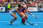 Tessa Howard of Great Britain Women is tackled by Lucina Von Der Heyde of Argentina Women during the 2019 Women's FIH Pro League match at Lee Valley Hockey Centre, Stratford<br /> Picture by Simon Parker/Focus Images Ltd <br /> 18/05/2019