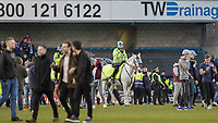 Football - 2016 / 2017 FA Cup - Fifth Round: Millwall vs. Leicester City <br /> <br /> Police horses escort fans off the pitch at the end celebrate at The Den<br /> <br /> COLORSPORT/DANIEL BEARHAM
