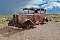 Rusted old car on route 66,Painted Desert,Petrified Forest National Park,Arizona,USA.
