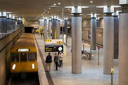 train at platform at Bundestag subway station in Berlin Germany