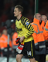 Fotball<br /> England<br /> Foto: Fotosports/Digitalsport<br /> NORWAY ONLY<br /> <br /> Anders Lindegaard Throws his Gloves in to the crowd after the final whistle<br /> Manchester United 2010/11<br /> Southampton V Manchester United (1-2) 29/01/11 <br /> The FA Cup 4th Round)