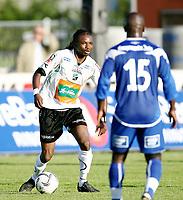 Fotball <br /> Adeccoligaen<br /> Hønefoss Idrettspark<br /> 24.08.08<br /> Hønefoss BK  v  FK Haugesund  1-1<br /> <br /> Foto: Dagfinn Limoseth, Digitalsport<br /> Umaru Bangura , Hønefoss