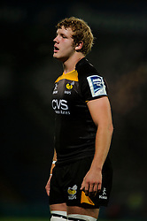 Wasps replacement (#19) Joe Launchbury  looks on during the second half of the match - Photo mandatory by-line: Rogan Thomson/JMP - Tel: 07966 386802 - 17/10/2013 - SPORT - RUGBY UNION - Adams Park Stadium, High Wycombe - London Wasps v Bayonne - Amlin Challenge Cup Round 2.