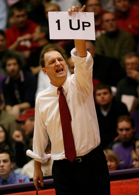 23 February 2008: Indiana interim head coach Dan Dakich as the Indiana Hoosiers played the Northwetern Wildcat in a college basketball game in Evanston, Ill. The game is Dakichs first as coach of Indianan
