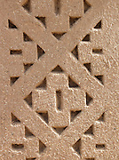 Pattern designed into the mud brick wall at a hotel in the Skoura Oasis in Morocco