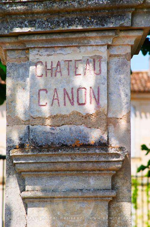 A stone pillar inscribed with Chateau Canon Saint Emilion Bordeaux Gironde Aquitaine France