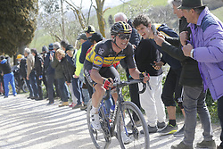March 9, 2019 - Siena, Italy - Belgian Yves Lampaert of Deceuninck - Quick-Step in action during the Strade Bianche one day cycling race in Siena, Italy, Saturday 09 March 2019...BELGA PHOTO YUZURU SUNADA (Credit Image: © Yuzuru Sunada/Belga via ZUMA Press)